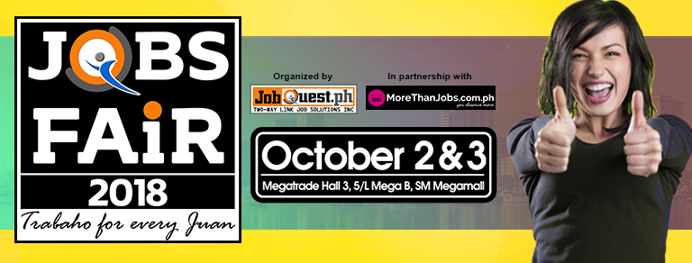 Megamall Jobfair (Jobs for Every Juan) – October 2 & 3, 2018 – (JobQuest)
