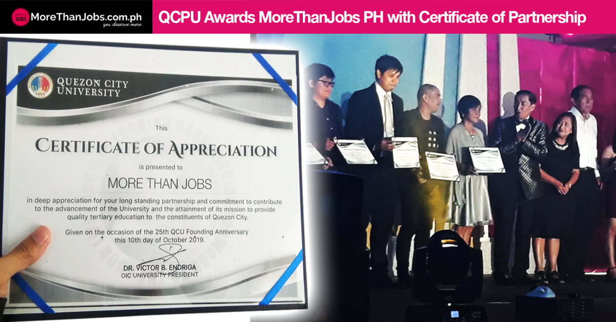 QCPU Recognizes Partnership with MoreThanJobs PH with Certificate of Appreciation