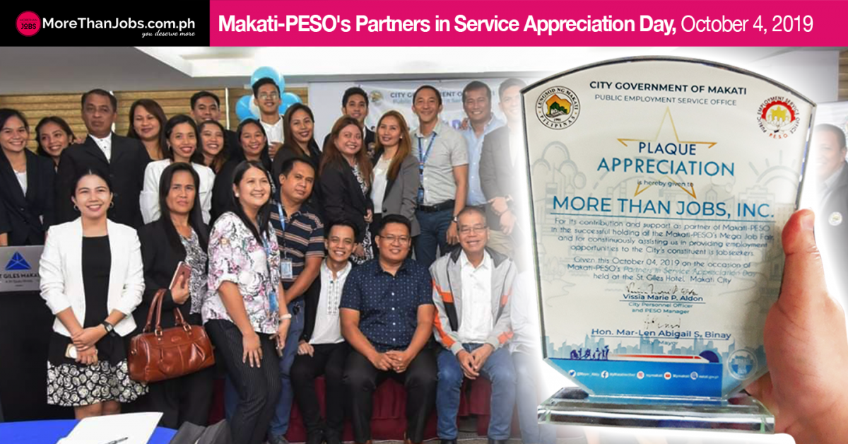 MoreThanJobs PH Receives Partners in Service Appreciation Award from Makati PESO