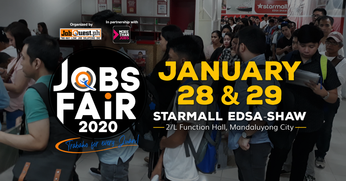 JobQuest.ph and MoreThanJobs.com.ph Kick Off Jobs Fair 2020